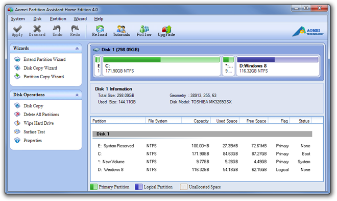Aomei Partition Assistant Home Edition 4.0