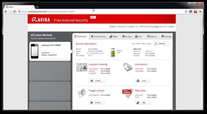 Avira-Android-Web-Console-Dashboard