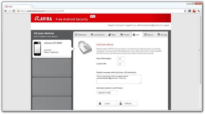 Avira-Android-Web-Console-Lock-Device