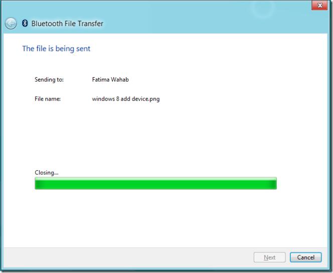 Bluetooth File sent