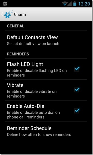 Charm-Android-preferences