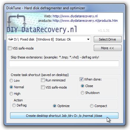 DiskTune - Hard disk defragmenter and optimizer