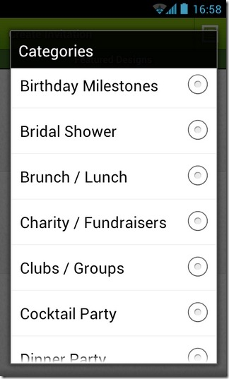 Evite-Android-Categories