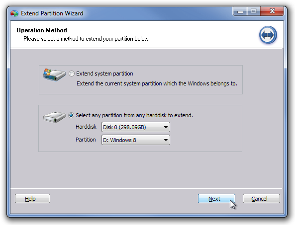 Extend Partition Wizard
