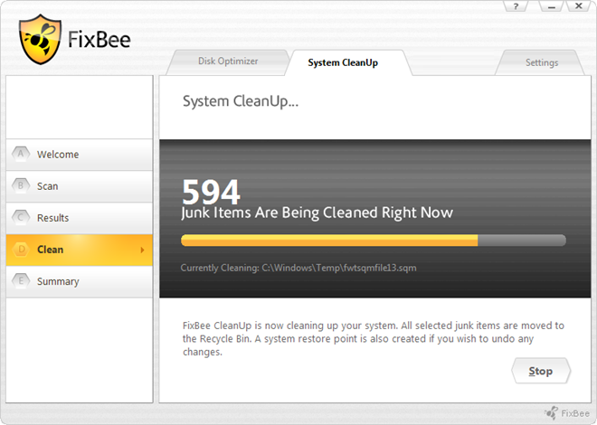 FixBee Disk Optimizer Cleaning
