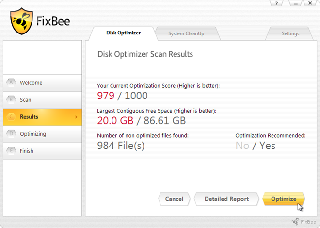 FixBee Disk Optimizer Done