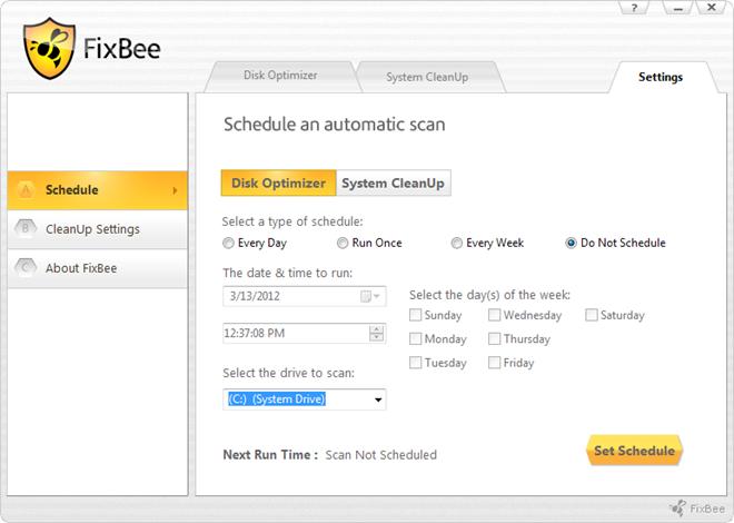 FixBee Disk Optimizer Settings