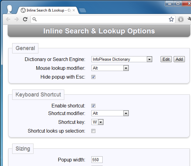 Inline Search & Lookup - Options