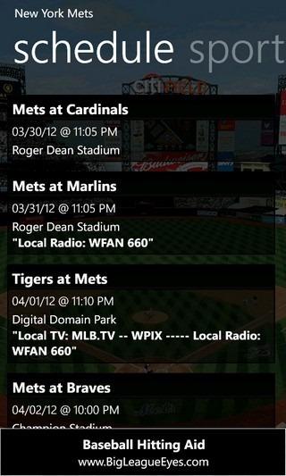 MLB Pro '12 Schedule