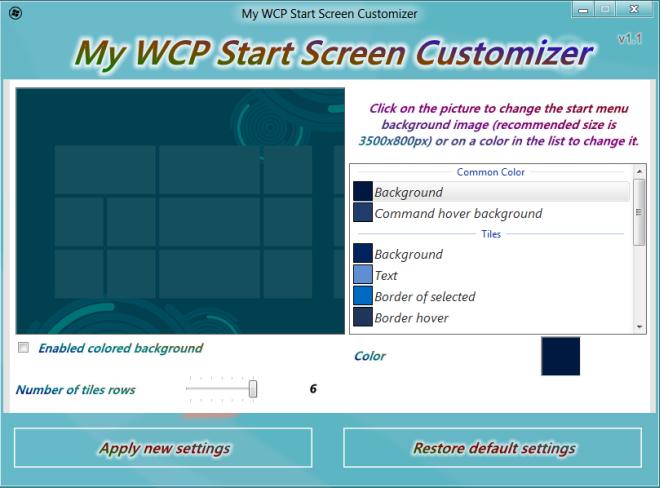 My WCP Start Screen Customizer