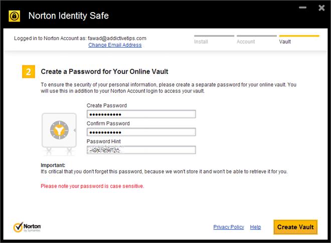 Norton Identity Safe Create vault password