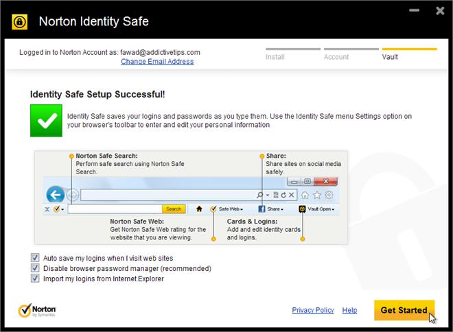 Norton Identity Safe Settings