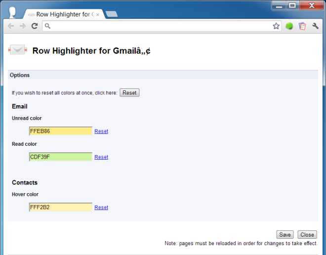 Row Highlighter for Gmail Options