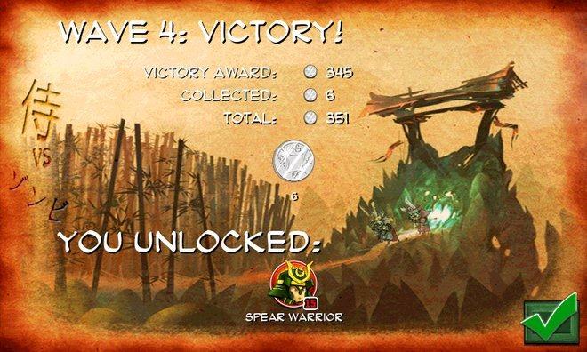Samurai Vs Zombie Defense victory