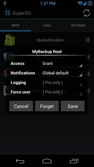 SuperSU Android Permissions