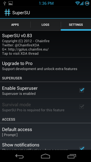 SuperSU Android Settings