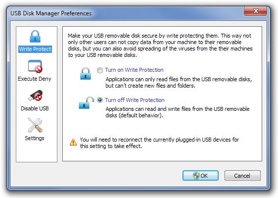 USB Disk Manager Preferences