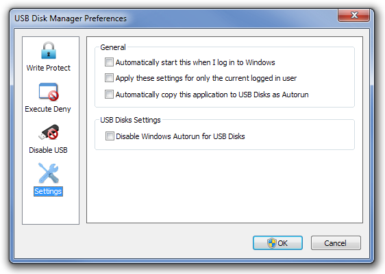 USB Disk Manager Settings