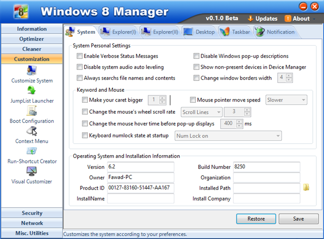 Windows 8 Manager Customization