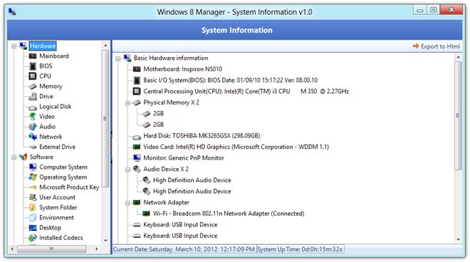 Windows 8 Manager - System Information v1.0