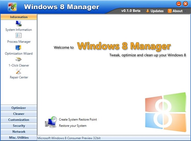 Windows 8 Manager v0.1.0
