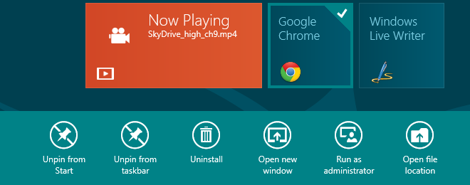 Windows 8 Non-Metro Tile Selection Options
