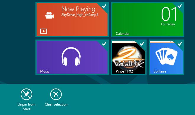 Windows 8 Selecting Multiple Tiles