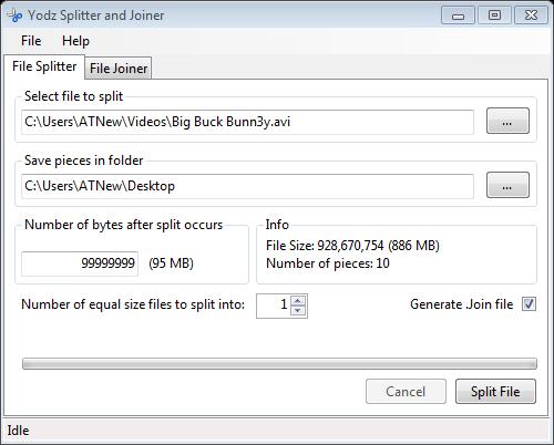 Yodz Splitter and Joiner File Splitter
