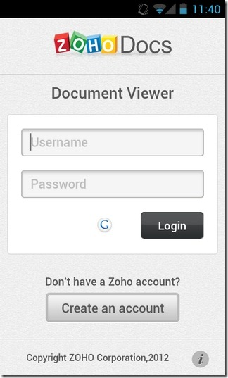 Zoho-Docs-Android-Login