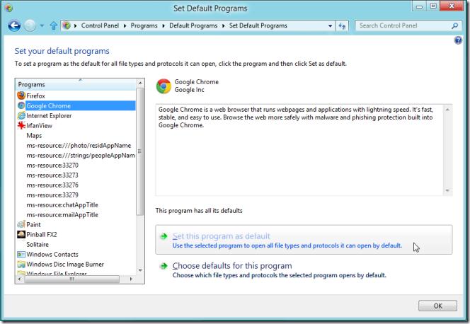 set default browser windows 8