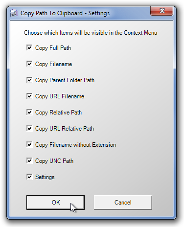 Copy Path To Clipboard - Settings