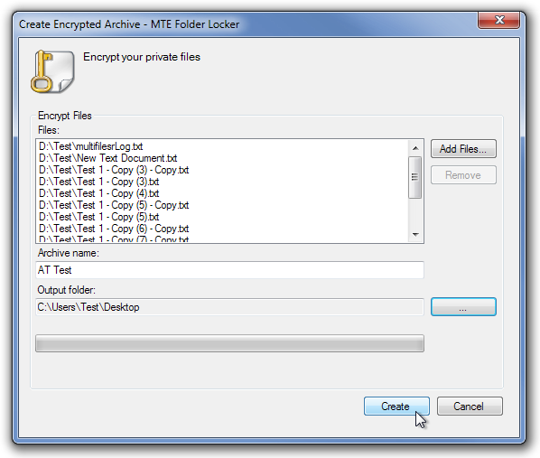 Create Encrypted Archive - MTE Folder Locker