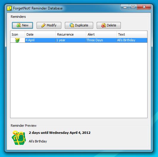 ForgetNot! Reminder Database