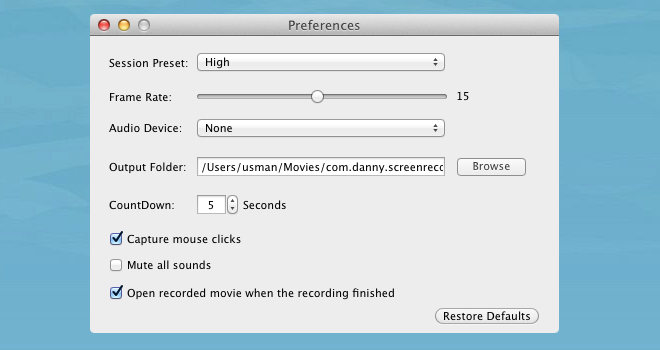 Good Screen Recorder Lite Preferences