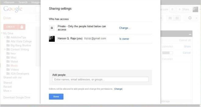 Google Drive Web Share