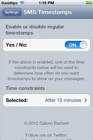 SMS Timestamps Settings