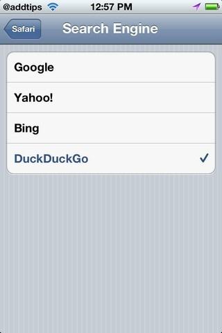 Safari Default Search Engine List