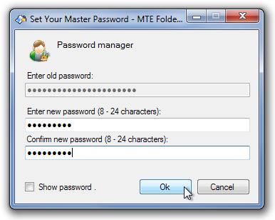 Set Your Master Password - MTE Folder Locker