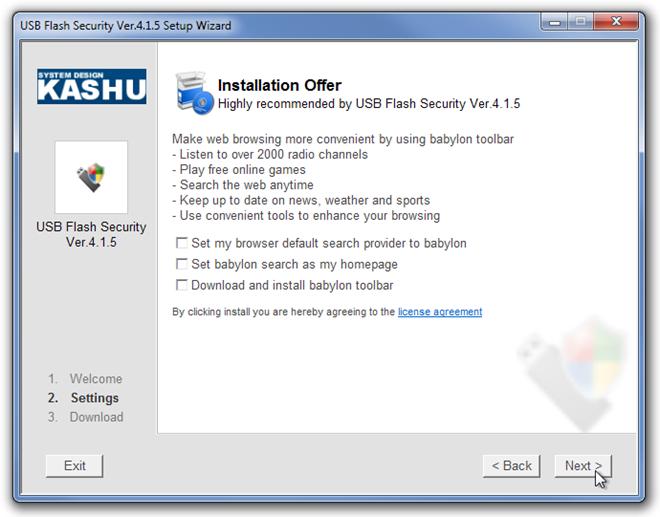 USB Flash Security Ver.4.1.5 Setup Wizard