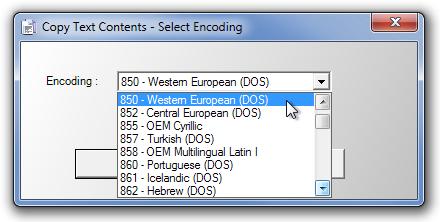 Copy Text Contents - Select Encoding
