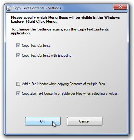 Copy Text Contents - Settings