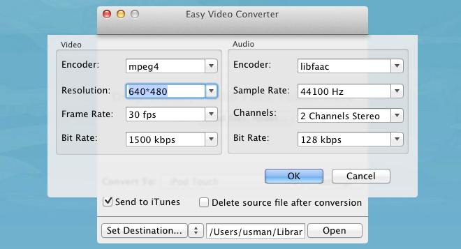 Easy Video Converter settings