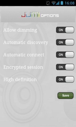 JumiAMP-Android-App-Options