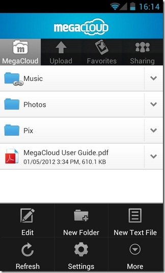 MegaCloud-Android-Home