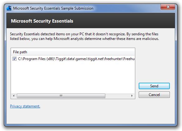 Microsoft Security Essentials Sample Submission