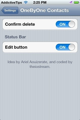 OneByOne Contacts Settings