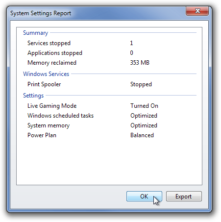 System Settings Report