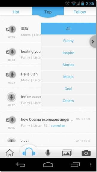Talpic-Android-iOS-Audio-Categories