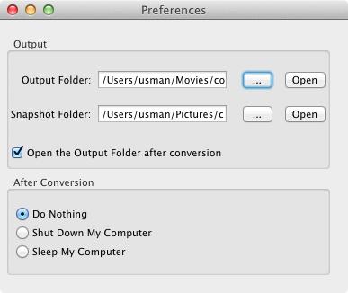 Video Converter Master preferences