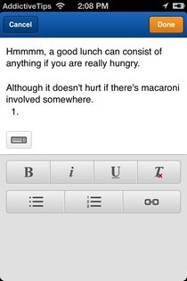 Weebly iPhone Text Editor